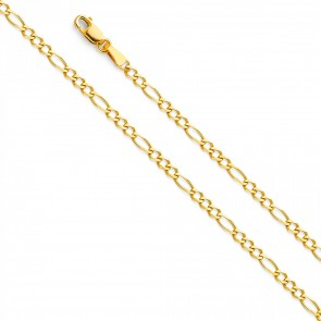 "14K Yellow Gold 2.7mm Figaro 3+1 Chain 16"" EJCN35601"