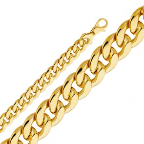 "Hollow 14K Yellow Gold 12.6mm Cuban 9"" bracelet - EJCH421"