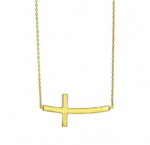 EJCM644 - Solid 14K Yellow Gold Sideways Cross Necklace