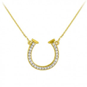 14K Lucky Horseshoe CZ Necklace EJCMN668