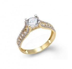 14K engagement CZ ring EJLRCZ10