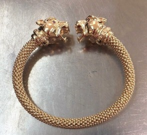 14K yellow gold mesh Panther Head bangle EJBG6030G