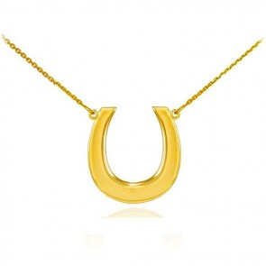 14K Lucky Horse Shoe necklace EJCMN785