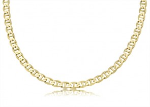 14K Yellow Gold 6mm Concave Mariner Bracelet 8 inches