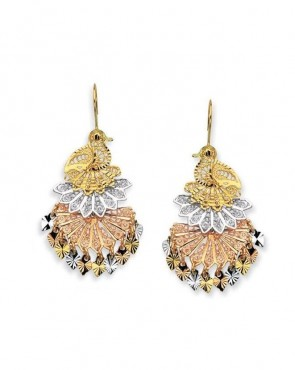 14K tricolor Peacock earrings EJER22818