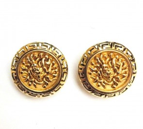 14K yellow gold Medusa earrings EJER2475PO