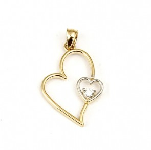 14K two tone Heart CZ charm EJM22013