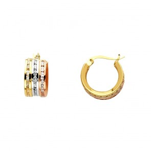 14K tricolor CZ hoop earrings EJER1144
