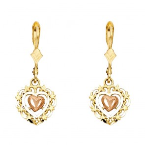 14K tricolor Heart earrings EJER1343