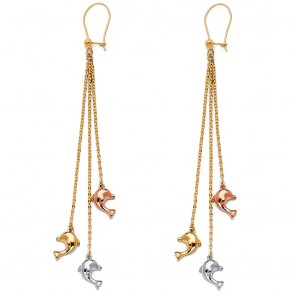 14K dolphin dangle earrings EJER1410