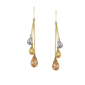 14K Tricolor Dangle Earrings EJER1412