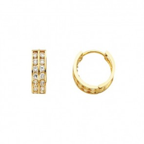 14K double row CZ huggie earrings EJER25318