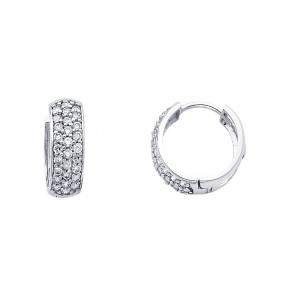 14K white CZ huggies earrings EJER270W