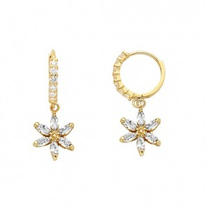 14K CZ stars dangle earrings EJER25202