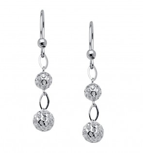 14K White Bead Earrings EJER406