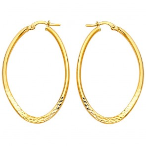 14K gold D/C oval earrings EJER43