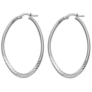 14K white D/C oval earrings EJER43W