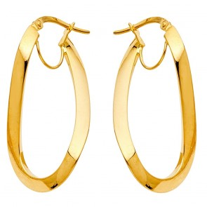 14K oval hoop earrings EJER506