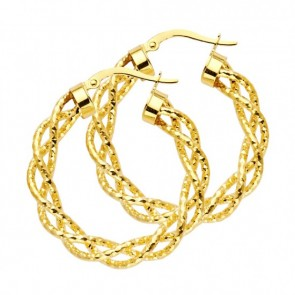 14K Yellow Twisted Hoop Earrings EJER0056