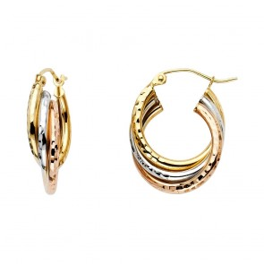 14K Tricolor Oval Hoop Earrings EJER594