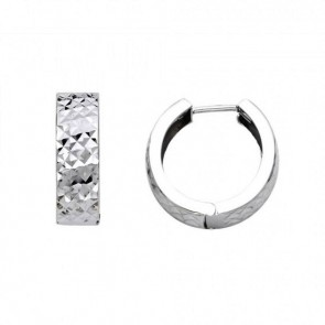 14K White Huggie Earrings EJER22735