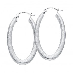 14K white satin oval earrings EJER753
