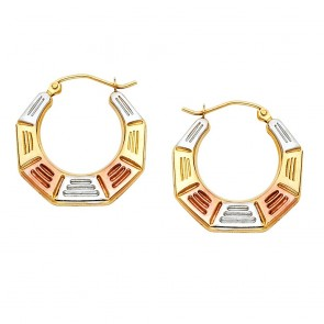 14K tricolor hollow earrings EJER790
