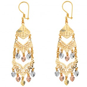 14K tricolor filigree chandelier earrings EJER22814