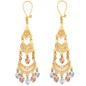 14K Tricolor Filigree Chandelier Earrings EJER883