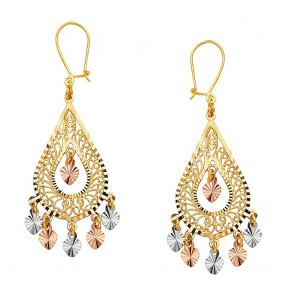 14K Pear shaped chandelier earrings EJER22807