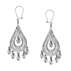14K White Pear Chandelier Earrings EJER22906