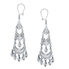 14K white filigree chandelier earrings EJER897