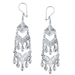 14K white trilevel chandelier earrings EJER899