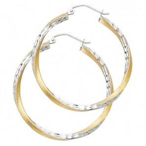 14K two tone D/C hoop earrings EJER0090