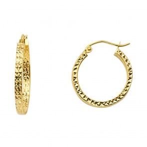 14K Diamond-Cut Hoop Earrings EJER942