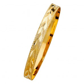 14K yellow gold D/C Leaves bangle EJGL105