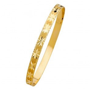 14K Yellow Gold D/C Stars Bangle EJGL106