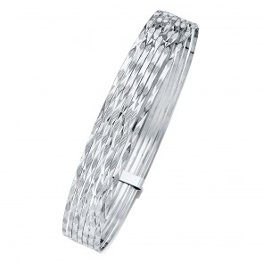 14K White Gold Slip-On D/C Bangles EJGL139