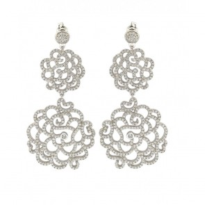 EJGME00001 - Fancy Flower sterling silver earrings with micro-pave CZ accent
