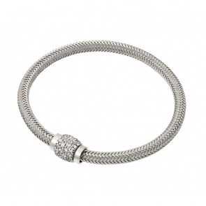 EJJPB00007W - Italian Sterling Silver bracelet  Rhodium plated with CZ clasp