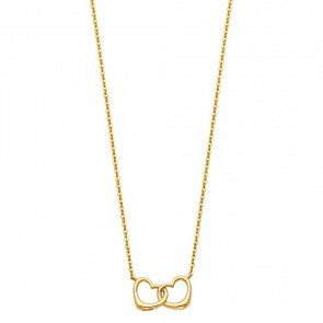 14K yellow Interlocking Hearts necklace EJNK0101