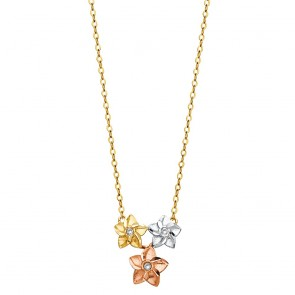 14K tricolor Flowers necklace EJNK132