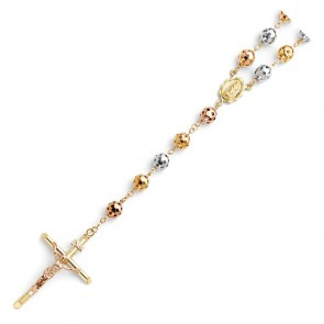 14K Tricolor 8mm Bead Rosary EJN14302
