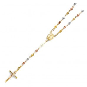 14K Tricolor 4mm Bead Rosary EJN14205
