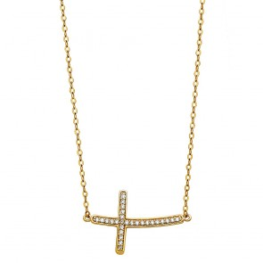 14K Sideways CZ Cross Necklace EJNK201