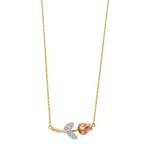 14K tricolor Rose necklace EJNK221