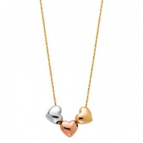 14K tricolor gold Hearts necklace EJNK0247