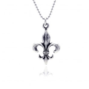 EJOXP00035 - Oxidized Sterling Silver necklace with Fleur De Lis pendant
