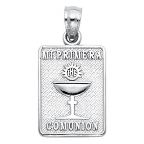 14K white Communion Medal EJPT1460