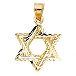 14K yellow Star of David charm EJCM1501